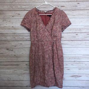 Banana Republic Red Blend Tweed Sheath Dress